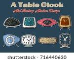a table clock set mid century... | Shutterstock .eps vector #716440630