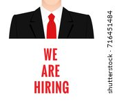 Stock photo a man in a business suit with a red tie a vacancy for work 716451484