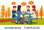 group meeting in a outdoor and... | Shutterstock .eps vector #716451610