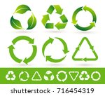 recycled cycle arrows icon set. ... | Shutterstock .eps vector #716454319