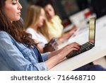 young woman studying with... | Shutterstock . vector #716468710