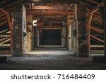 creepy attic interior at... | Shutterstock . vector #716484409