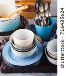 ceramic and enamel crockery... | Shutterstock . vector #716485624