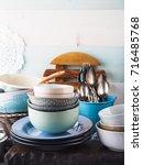 ceramic and enamel crockery... | Shutterstock . vector #716485768