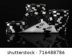 black white idea of poker chips ... | Shutterstock . vector #716488786