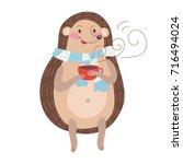 a hedgehog with tea | Shutterstock .eps vector #716494024