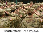 us soldiers giving salute | Shutterstock . vector #716498566