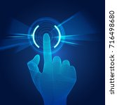 wireframe hand using digital... | Shutterstock .eps vector #716498680