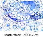 octopus and flowers.... | Shutterstock . vector #716512294
