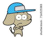cartoon unsure elephant wearing ... | Shutterstock .eps vector #716525383