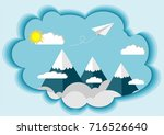 paper plane fly on the sky top... | Shutterstock .eps vector #716526640