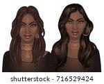 african american pretty girl.... | Shutterstock .eps vector #716529424