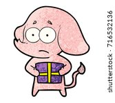 cartoon unsure elephant with... | Shutterstock .eps vector #716532136