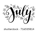 cute brush calligraphy of month ... | Shutterstock .eps vector #716535814