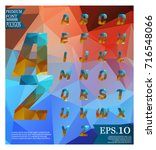 font lowpoly on abstract...   Shutterstock .eps vector #716548066
