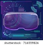 vector vr glasses on futuristic ... | Shutterstock .eps vector #716559826