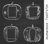 set of chalk drawn frames in... | Shutterstock .eps vector #716571724