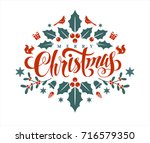 christmas postcard with... | Shutterstock .eps vector #716579350
