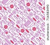 beauty saloon seamless pattern... | Shutterstock .eps vector #716583490