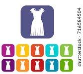 woman dress icons set