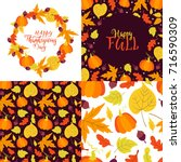 vector set of greeting cards... | Shutterstock .eps vector #716590309