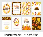 vector set of autumn greeting... | Shutterstock .eps vector #716590804