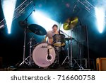 Small photo of Lierop, the Netherlands - August 18, 2017: Jesper Albers of Dutch alternative rock band The Paceshifters perform live on stage at Nirwana Tuinfeest music festival.