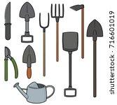 vector set of gardening tool | Shutterstock .eps vector #716601019