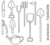 vector set of gardening tool | Shutterstock .eps vector #716601058
