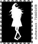 White Silhouette Of Witch On...