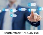 blockchain technology concept... | Shutterstock . vector #716609158