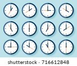 clock icon set in flat style ... | Shutterstock .eps vector #716612848