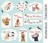 set of christmas and  new year... | Shutterstock .eps vector #716613634
