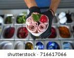 stir fried ice cream rolls at... | Shutterstock . vector #716617066