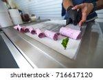 stir fried ice cream rolls at... | Shutterstock . vector #716617120