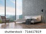 modern loft style bedroom with...   Shutterstock . vector #716617819