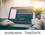 Small photo of coding code program programming developer compute web development coder work design software closeup desk write workstation key password theft hacking firewall concept - stock image
