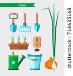 gardening work tools set.... | Shutterstock .eps vector #716635168