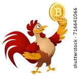 red rooster holding bitcoin...   Shutterstock .eps vector #716641066