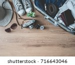 travel concept with travel bag  ... | Shutterstock . vector #716643046