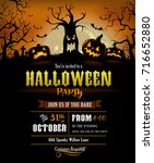 halloween invitation with... | Shutterstock .eps vector #716652880