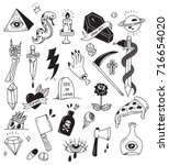 various tattoo element doodle... | Shutterstock .eps vector #716654020