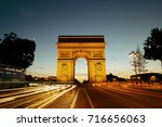 arc de triomphe and street view ... | Shutterstock . vector #716656063