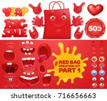 red sale bag emoticon character ... | Shutterstock .eps vector #716656663