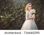 lovely young bride in wedding... | Shutterstock . vector #716660290