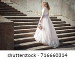 a beautiful young bride in a... | Shutterstock . vector #716660314