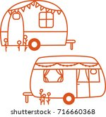 caravan illustration drawing | Shutterstock .eps vector #716660368