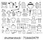 kitchen color icon doodle set | Shutterstock .eps vector #716663479