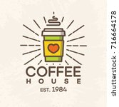 coffee house logo with paper... | Shutterstock .eps vector #716664178