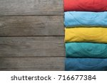 close up of rolled colorful... | Shutterstock . vector #716677384